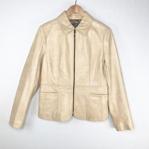 Ann Taylor Beige Leather Front Zip Jacket Size M